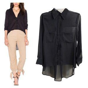 ENZA COSTA Hi-Low Peasant Shirt Black